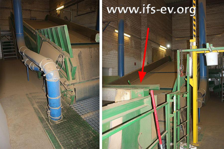 Der Anlieferungsbereich mit Schüttgosse (Pfeil): Die gelbe Schranke, die rechts zu sehen ist, wurde am Schadentag installiert. Dahinter sind Rohre der Absauganlage zu erkennen.