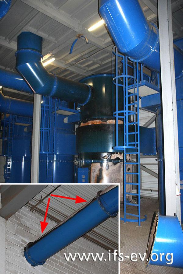 Die betroffene Filteranlage erkennt man an den Lackschäden. Das kleine Bild zeigt einen Rohrabschnitt aus einer unteren Geschossebene, an dem ebenfalls Lackschäden (an der Oberseite) zu sehen sind.
