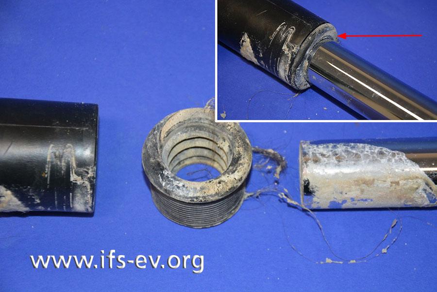 Die Dichtung (Bildmitte) soll die unterschiedlichen Durchmesser von Siphon und Abwasserrohr ausgleichen. Auf dem kleinen Foto ist die korrekte Installation abgebildet.