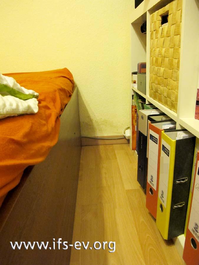 Zwischen Bett und Regal ist die Wand über der Fußleiste dunkel verfärbt.