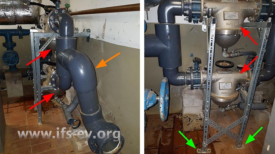 Erstes Bild: Die hinter der Kupplung montierten PVC-Rohre (oranger Pfeil) wurden in Richtung des Stahlprofilgestelles und der beiden Filter (rote Pfeile) gedrückt. Auf dem zweiten Bild ist zu erkennen, dass das Gestell unten nach links verschoben wurde.