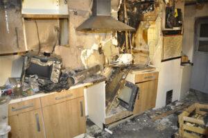 Die Küche der Gaststätte nach dem Feuer