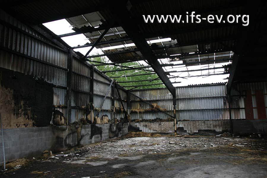 Über dem Brandschwerpunkt wurden das Hallendach und die darauf montierten Solarmodule zerstört.