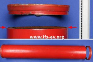Das Rohr aus der Sprinkleranlage ist an einem Ende im Bereich der Nut rundum gebrochen.