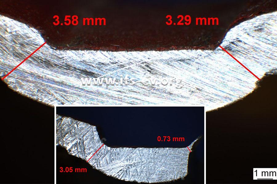 Der Querschnitt der beiden Nuten: An der gebrochenen Nut (kleines Bild) ist die Wandstärke im Bruchbereich sehr dünnwandig.