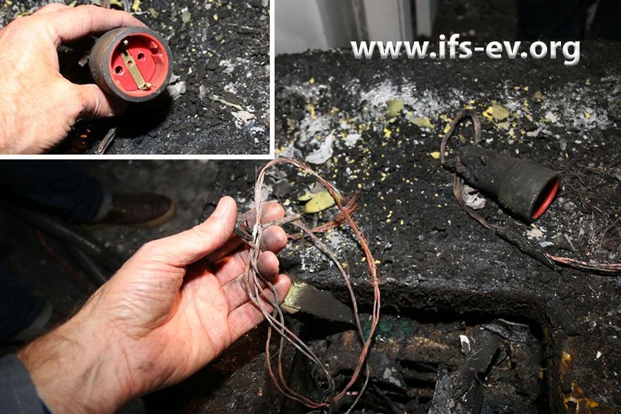 Im Brandschutt nahe den Trocknungsgeräten liegt eine Verlängerungsleitung, deren Steckkupplung während des Brandes belegt war (kleines Bild).