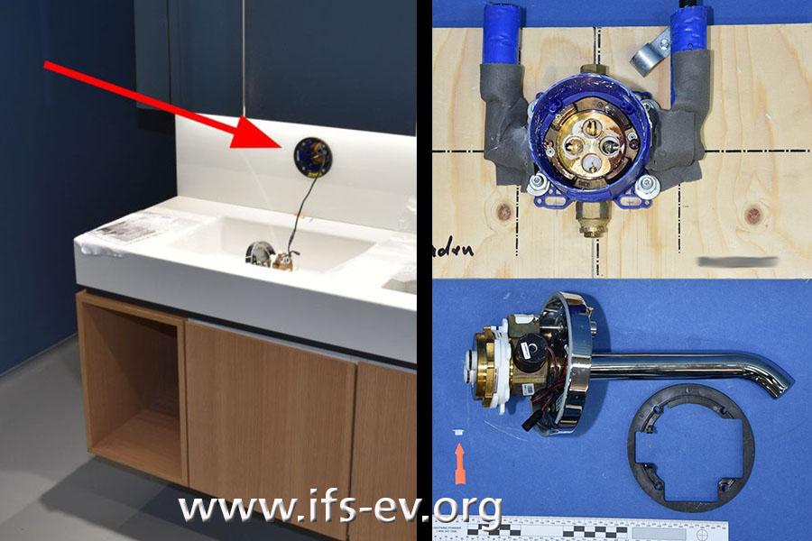 Rechts: Die Waschtischarmatur mit Grundeinheit (oben) und Funktionseinheit. Links: An der Schadenstelle ist die Grundeinheit noch montiert; die Funktionseinheit liegt im Handwaschbecken.