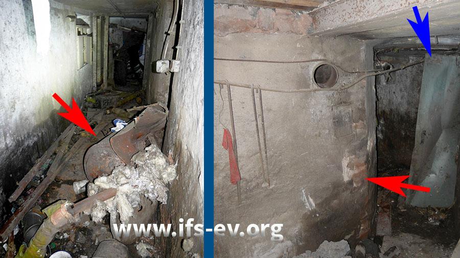 Der Heizkessel (roter Pfeil links) wurde von seinem Platz (roter Pfeil rechts) in einem offenen Kellerraum in den Kellergang geschleudert. Dabei wurde die gegenüberliegende Metalltür deformiert (blauer Pfeil).