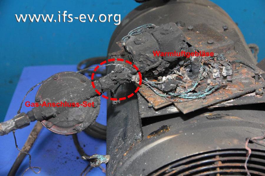 Die Verschraubung (Ellipse) zwischen Gas-Anschluss-Set und Warmluftgebläse ist undicht.