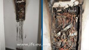 Die ausgebrannte Elektroverteilung im Flur. Rechts: Detailaufnahme
