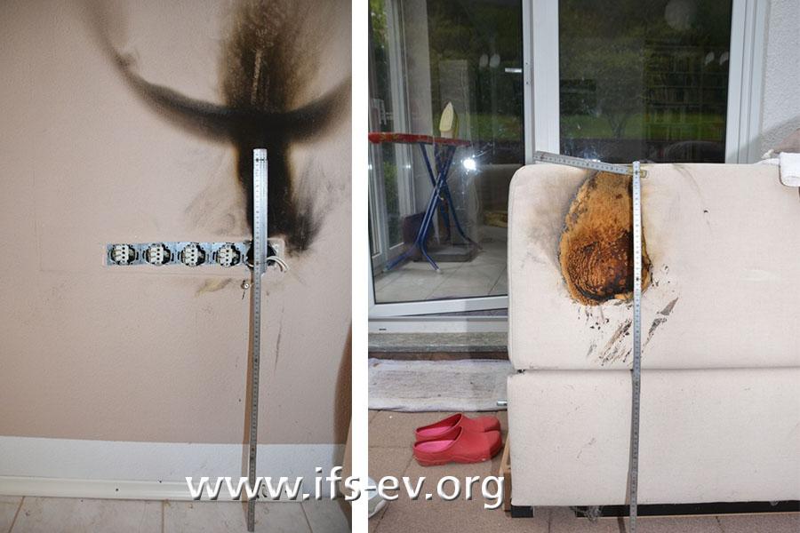 Brandspuren an der Wand oberhalb der Sat-Dose und am Sofa, das direkt davor gestanden hat