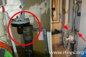Links ist das Schadenbild mit dem vollständig aus der Steckmuffenverbindung herausgedrückten Flanschanschluss abgebildet, rechts die reparierte und mit Metallprofilen (Pfeile) gesicherte Leitung.