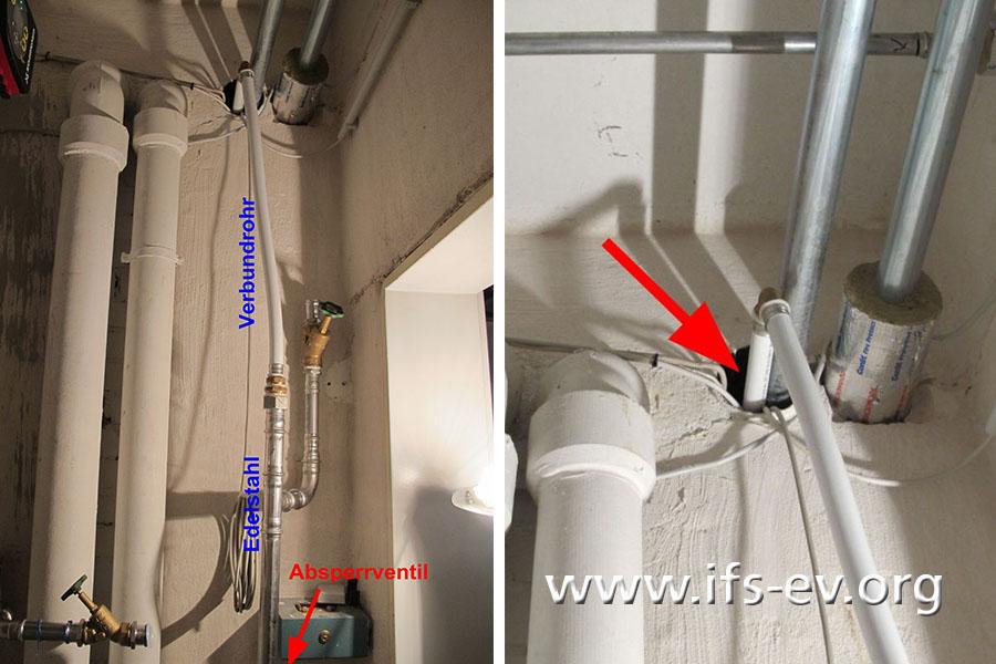 Die neue Leitung ist zum Teil als Verbundrohr ausgeführt (links) und hat wegen der fehlenden Dämmung an der Wanddurchführung Spiel (rechts).