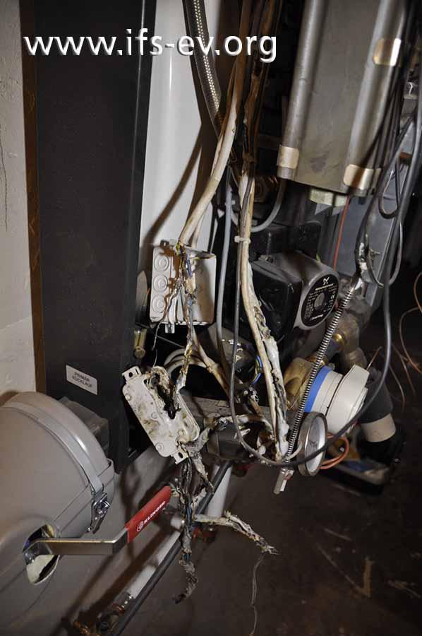 Die Detailaufnahme des elektrischen Anschlusses zeigt Schmelzspuren an den Schutzleiteradern.