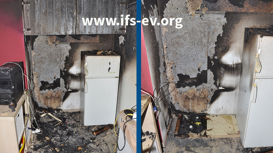 Das linke Bild zeigt den Brandschwerpunkt. Auf dem rechten Foto hat der Gutachter begonnen, das Regal zu rekonstruieren, zunächst mit der Bodenplatte.