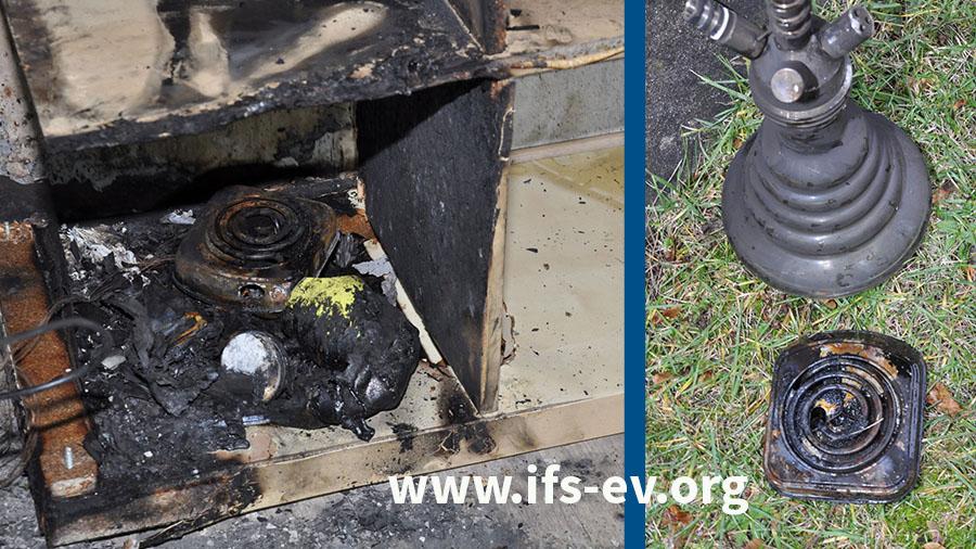 Der Shishakohleanzünder wurde samt Wasserpfeife im Brandschutt hinter dem Haus gefunden. Auf dem linken Foto steht er wieder auf seinem Platz im untersten Regalfach.