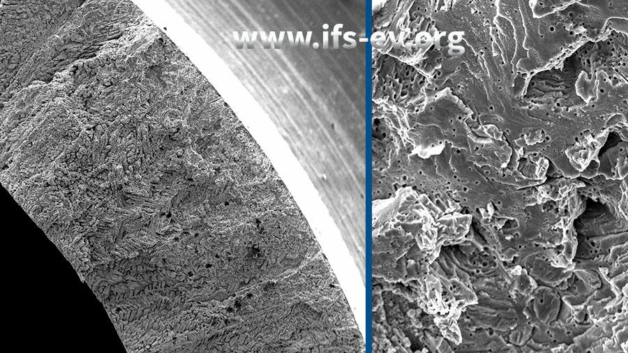 Die Bruchfläche zeigt in der 150-fachen (links) und 2400-fachen Vergrößerung typische Strukturen von Spannungsrisskorrosion.