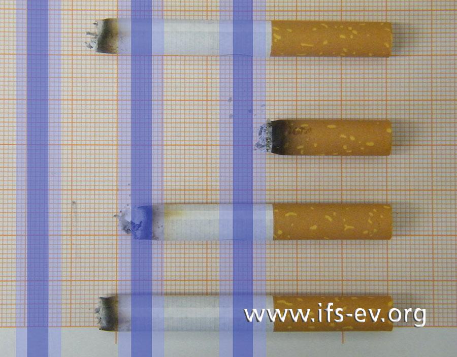 Brandversuch  mit  Sicherheitszigaretten: Die blauen Streifen markieren die Bänder.