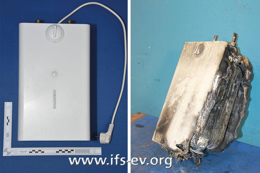 Ein brandbetroffener Kleinspeicher und ein Vergleichsgerät werden im Elektrolabor untersucht.