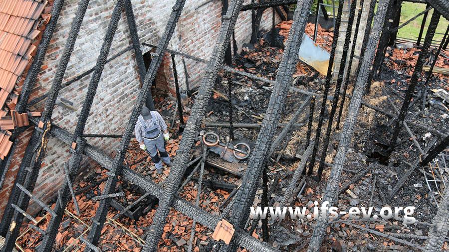 Blick auf den ausgebrannten Dachboden. In der Bildmitte ist eine Spezialleuchte für die Pflanzenaufzucht zu sehen.