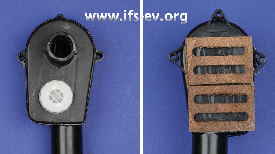 Der Siphon aus Kunststoff (Bild links) wurde auf der Rückseite mit Schallschutzplatten hinterfüttert, wie auf dem rechten Bild zu sehen ist.