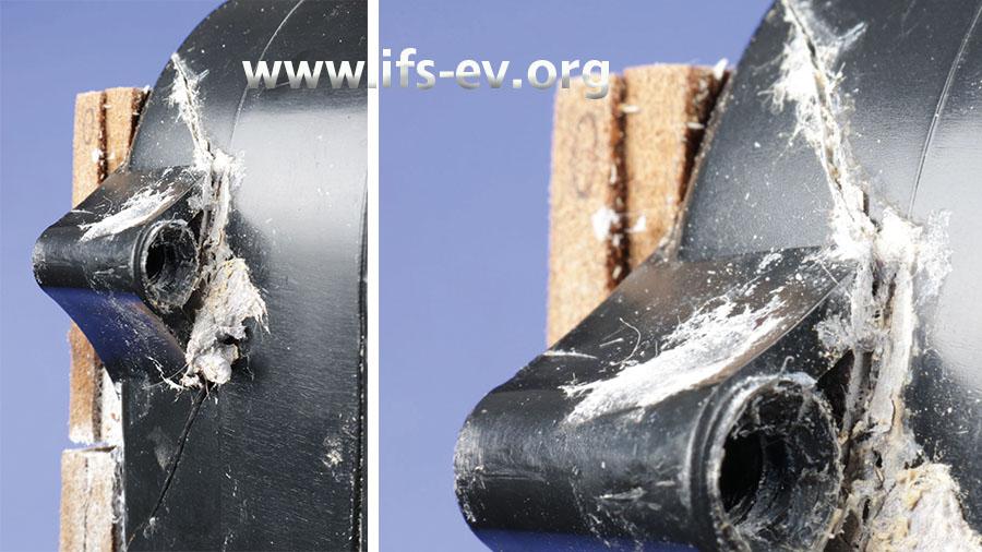 Die Detailaufnahme rechts zeigt Risse im Gehäuse im Bereich der Befestigungsösen.