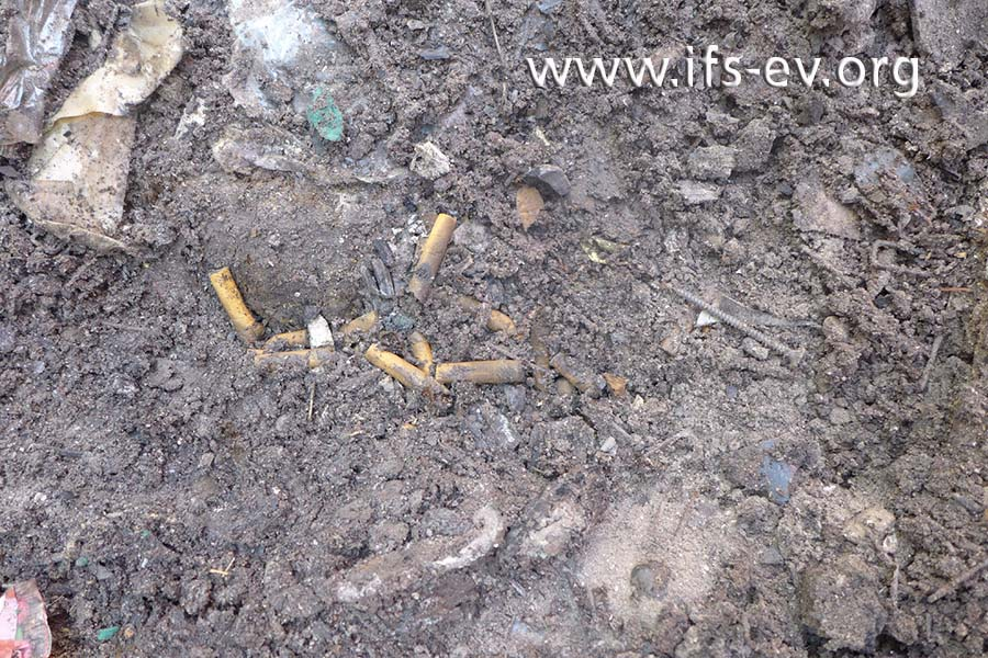 Im Brandschutt der Restmülltonne befinden sich Zigarettenkippen.