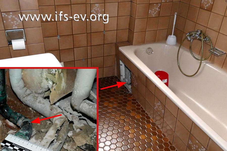 Die Leckage liegt hinter einer Revisionsöffnung unter der Badewanne.