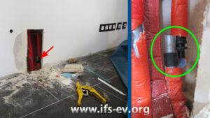 Die Wand im Wohnzimmer wurde geöffnet (links). Dahinter liegt an der senkrecht verlaufenden Leitung eine getrennte Verbindung, bei der ein Rohrende komplett von der Kunststoffkupplung gerutscht ist.