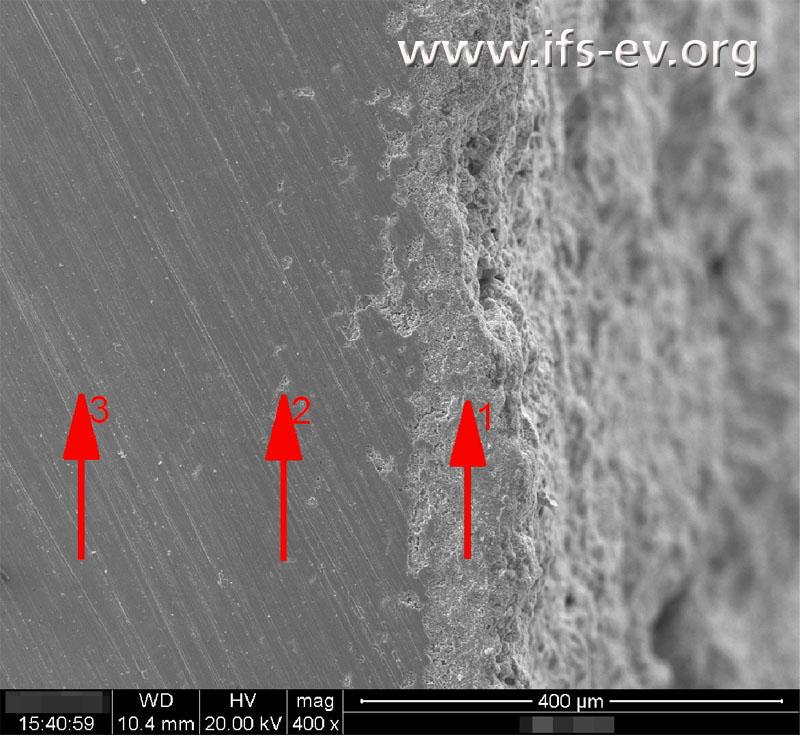 REM-Aufnahme: An der Oberfläche (1) ist das Material stark entzinkt, während in der Tiefe kaum (2) oder keine (3) Entzinkung vorhanden ist.