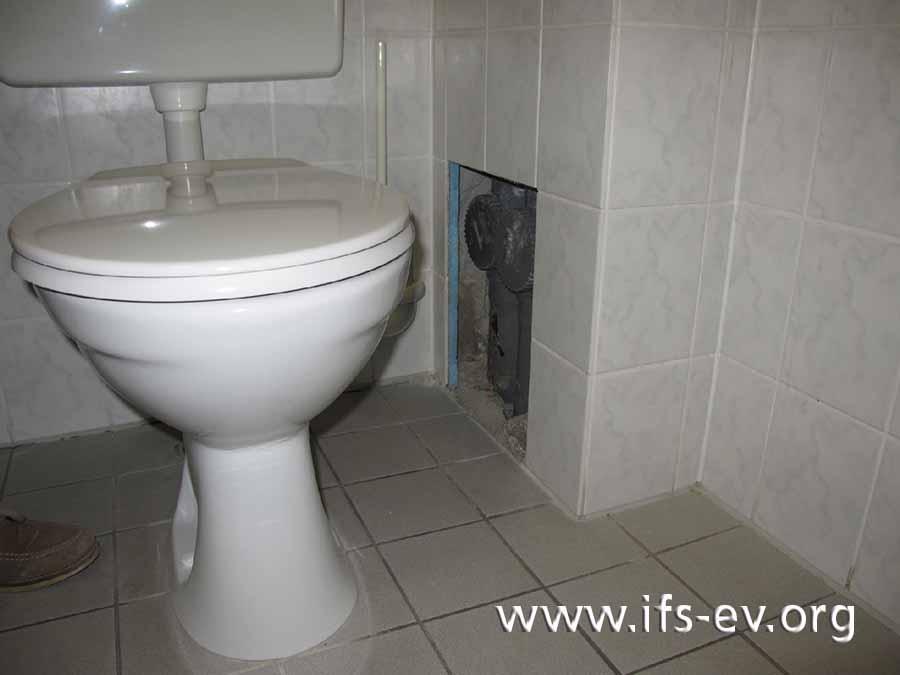 Von diesem Leitungsschacht im Gäste-WC ging die Durchfeuchtung aus.