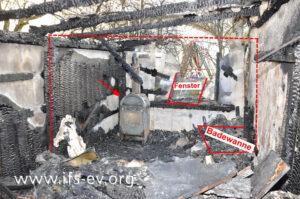 Blick ins Nebengebäude: In der Sauna (hinterer Raumteil, gestrichelte Linien) haben sich ein Festbrennstoffofen (Pfeil) befunden und eine Badewanne aus Kunststoff, die hier allerdings nur der Vollständigkeit halber markiert ist.