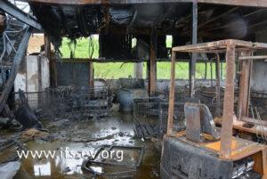 Die Betriebshalle wurde durch das Feuer zerstört.