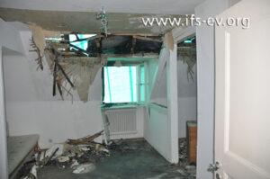 Von diesem Raum im Dachgeschoss hat das Feuer auf das Dach übergegriffen.