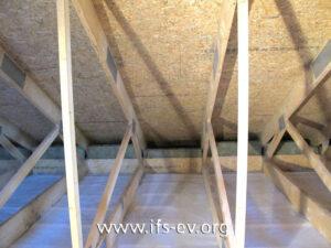Die Dämmwolle in der Zwischendecke zum Erdgeschoss wurde vollständig entfernt. An den Spanplatten und Holzsparren der Dachkonstruktion gab es Schimmelpilzbefall.