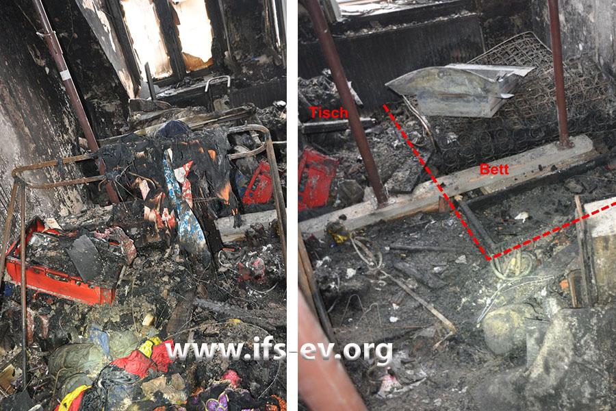 Im Brandraum sind die Zerstörungen rechts stärker ausgeprägt als links.