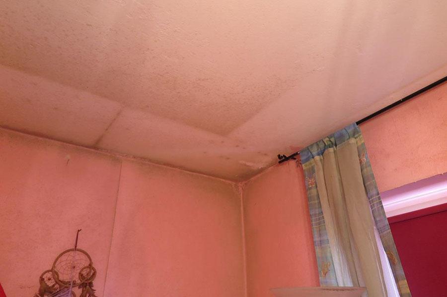 Im Übergangsbereich zur Decke sowie an der Decke selbst gibt es massive Verunreinigungen, und es zeichnet sich ein etwa 30 cm breiter Streifen ab.