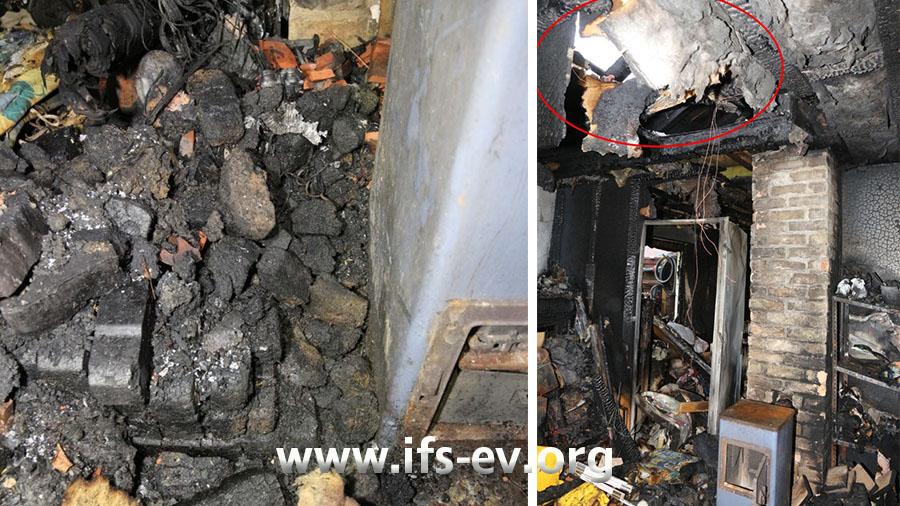 Links neben dem Ofen liegen Kohlebriketts auf dem Boden; direkt über diesem Bereich ist das Dach durchgebrannt (Markierung Bild rechts).