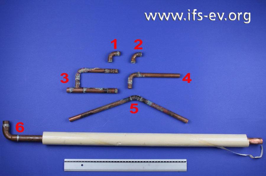 Sechs Leitungsabschnitte mit Rohrbrüchen werden im Labor untersucht.