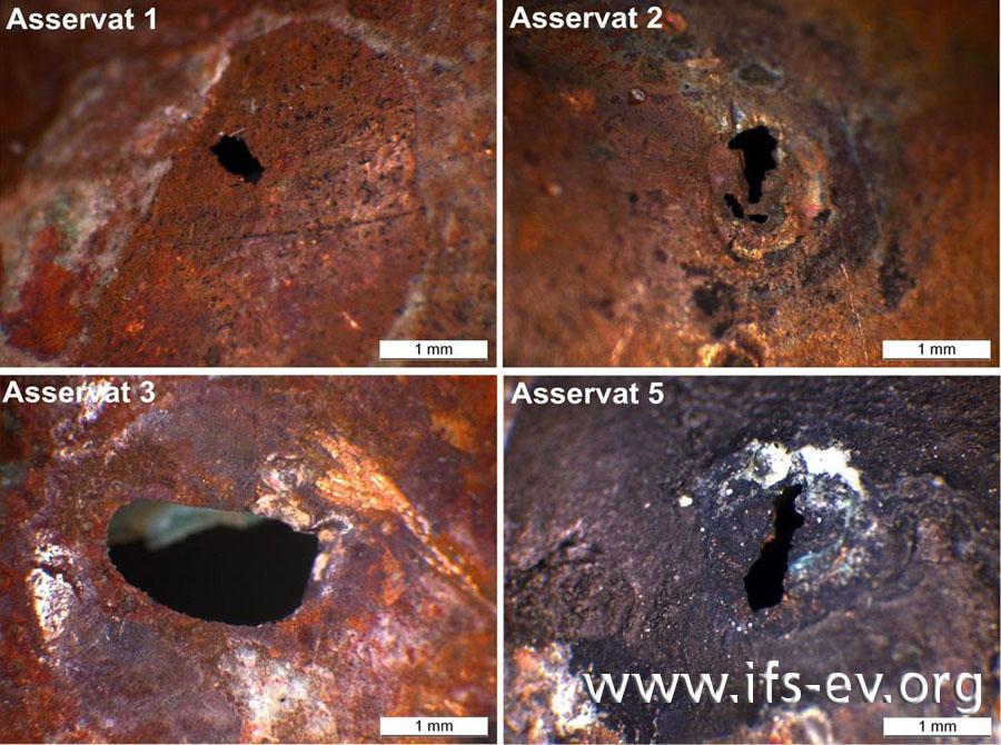 Hier sind die Wanddurchbrüche von vier Asservaten in der Nahaufnahme zu sehen - Ansicht von außen.