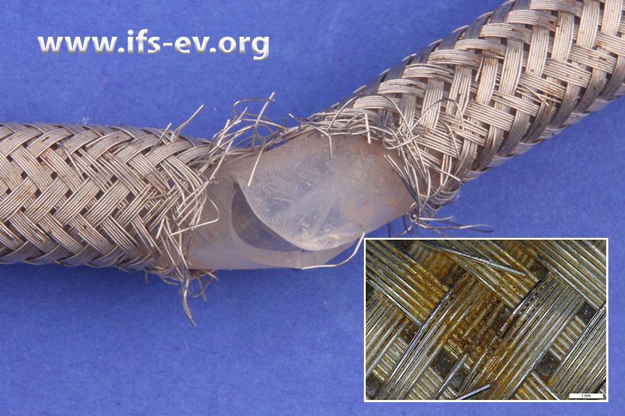 Das Drahtgeflecht ist gerissen und der Innenschlauch aufgeplatzt. Das kleine Bild zeigt Korrosion, die stellenweise auf dem Geflecht bereits stärker ausgeprägt ist.