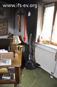 Der Brandbereich im Arbeitszimmer: Der Pfeil deutet auf die Telefonanlage.