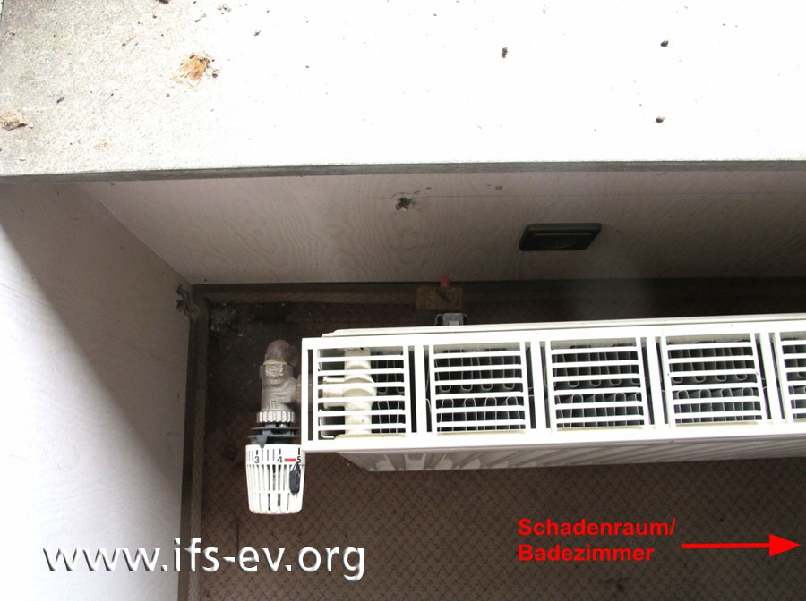 Der Heizkörper aus dem Flur im Obergeschoss ist nicht angeschlossen.