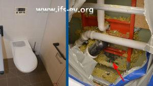 Vom Flur aus wird die Trockenbauwand hinter dem WC geöffnet. An der markierten Stelle gibt es bereits Schimmelbefall.