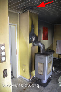 Über dem Kaminofen befindet sich in der Decke eine Durchführung für ein Wärmeleitrohr.