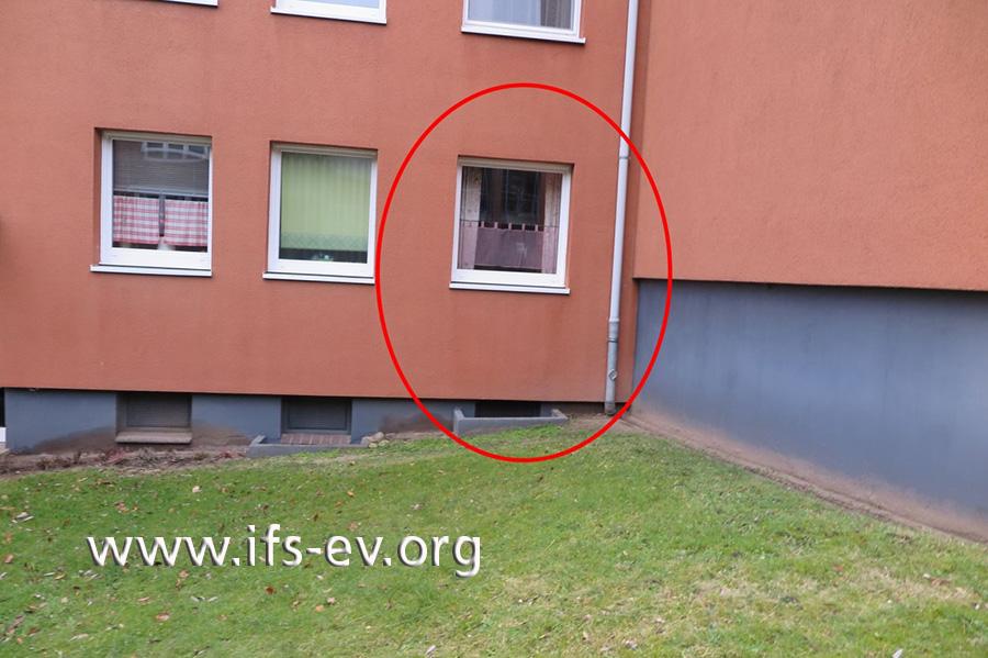 Markiert ist das Fenster des Gästezimmers. Direkt angrenzend liegt die ungedämmte Kellerwand.