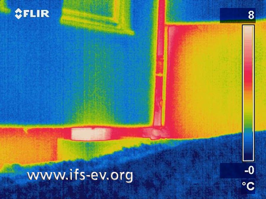 Das Wärmebild zeigt ebenfalls das Fenster des Gästezimmers und die angrenzende ungedämmte Kellerwand des Nachbarhauses. In den roten und gelben  Bereichen gibt es einen hohen Wärmeverlust. Noch höher ist dieser am geöffneten Kellerfenster, das hier als kleiner weißer Bereich in der Kellerwand zu sehen ist.