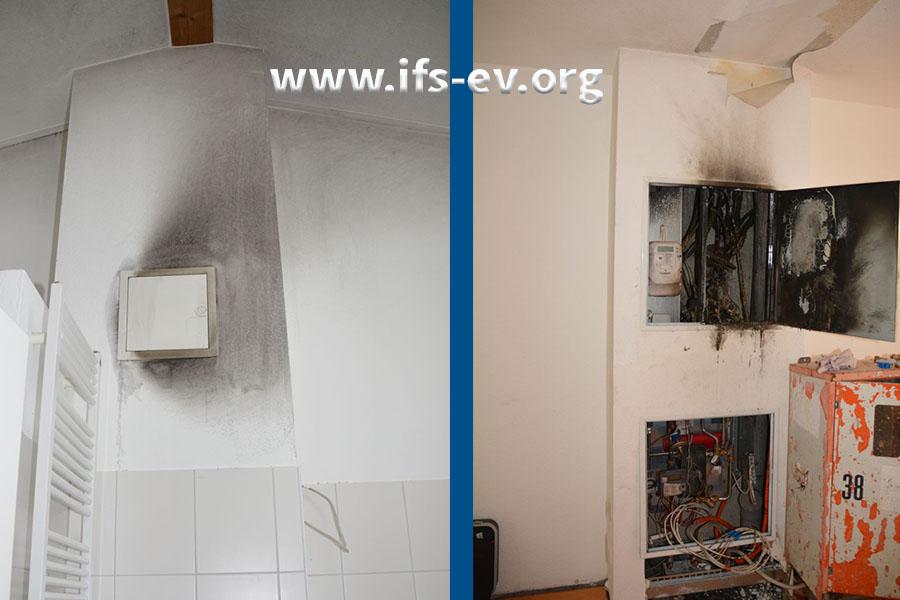 Direkte Brandschäden blieben auf den Versorgungsschacht im Wohnzimmer (rechts) begrenzt. Im darüber liegenden Bad kam es lediglich zu Verunreinigungen durch Ruß und Rauchgaskondensate (links).