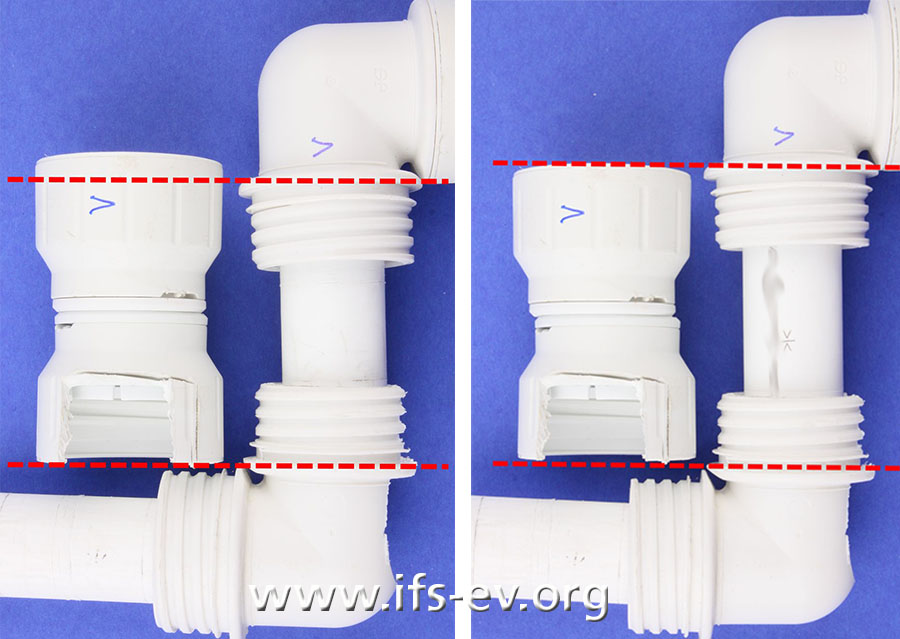 Hier sind die undichte und eine dichte Vergleichsverbindung zu sehen, mit den entfernten und daneben liegenden Schraubkappen. Links ist wegen der zu kurzen Rohrlänge ein vollständiger Einschub nicht möglich.