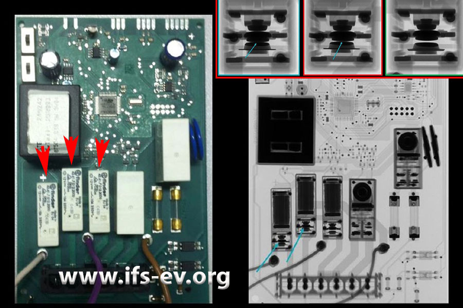 Auf dem Foto der Steuerungsplatine haben wir drei Relais gekennzeichnet. Auf dem Röntgenbild daneben sieht man, dass die Kontakte des linken und des mittleres Relais verklebt sind. Die kleine Aufnahme oben zeigt dieses Detail noch einmal deutlicher.